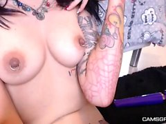 Dirty Tattooed Teen Shows Off And Masturbates