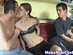 Cuckolding euro teen banged while bf watches