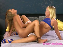 Lesbea Two sexy blonde babes dripping wet pussy