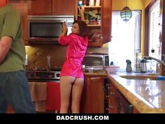 Petite stepdaughter gets fucked in the kitchen