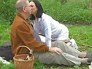 Naughty grandpa enjoys a picnic fuck with a horny teen