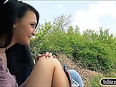 Teen slut Belle hitch hikes and nailed with thick cock