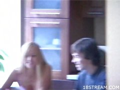 Teens fuck on the table on cam