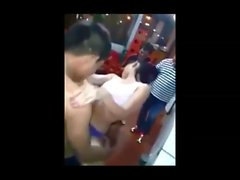 Thai teen boiling hot lap dance in warehouse