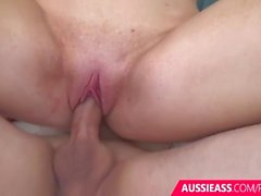 Australian blonde girl has pussy filled with cream pie cum shot