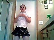 Chubby teen Amber strips
