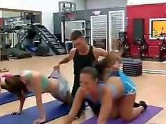 Stunning teen amateurs having fun at the gym