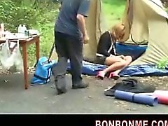 Amateur teen fucked when sleeping in the tent