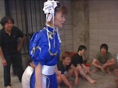 Radiant lass in gang bang getting coated in nut butter