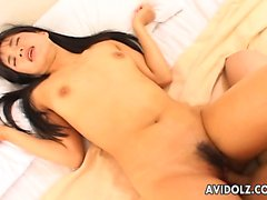 Asian cuttie has a hot fuck and she cums so swell