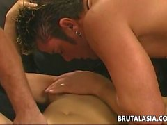 Butter face Asian cuttie getting double penetrated like crazy