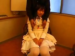 Beautiful Oriental teen spreads her legs and reveals her ti