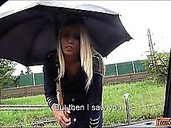Slutty stewardess Christen Courtney fucked in public