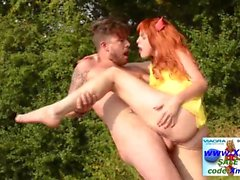 Sex in forest with redhead