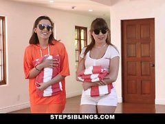 StepSiblings - Stepsisters Compete for Stepbros Cock