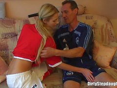 Blonde Teen Stepdaughter Deep Fucked By Her Stepfa