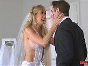 Cougar Brandi Love sucks the grooms dick