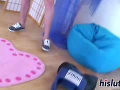 Busty teenage looker pleasures her orgasmic snatch