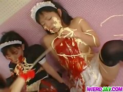 Submissive maids fucking and masturbating