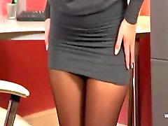 Exclusive blondie babe in office