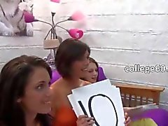 Group of college girls gag one dick