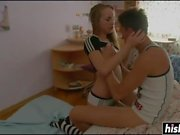 Horny teen in striped socks gets bonked