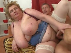 The Older BBW Woman Sex With Young Man