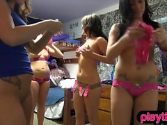 College birthday party with teen chicks ends in groupsex