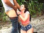 Nasty stud ties and smashes a beautiful young hitchhiker