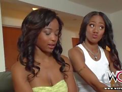 Stunning ebony muff diving teens go down on each other