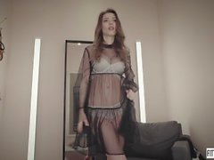 Mila Azul show her big natural tits in a shop and masturbates hard