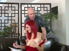 Sexy redhead likes a hard pecker