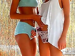 Fragile teen lesbos kissing and licking tits