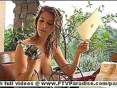 Karina naughty blonde naked toying pussy with strange vibrator