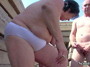 extrem old german mature seduce to fuck outdoor by stranger