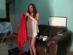 Teen cutie Cassie Laine shows her sexy dresses