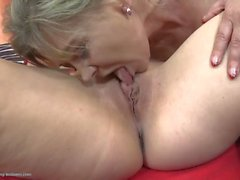 Talented mature tongue eats a young vagina