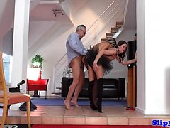 European stockinged babe shares oldmans cock