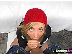 Teen Karla Kush sits on top getting slammed for a big cumsplash