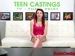 Tattooed casting teen pounded from behind