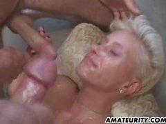 Hot amateur girlfriend gangbang with bukkake