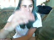 Blonde teen with huge breast masturbating on webcam