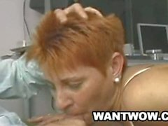 Mature red head mommy whore welcomes young cock in hardcore fuck