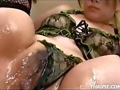 Asian Teen Made To Orgasm In Fishnet Stockings