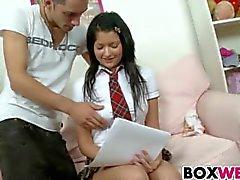 Schoolgirl gets deep anal