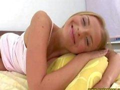 Blonde Russian chick Lamya masturbates