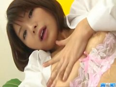 Azumi Harusaki takes down panties for a good masturbation
