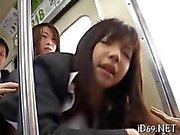 Invisible ninja fucks an Asian schoolgirl in public