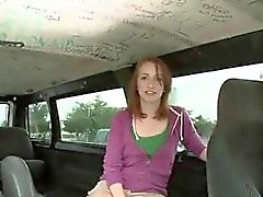Redhead teen eating man stick in the sex bus