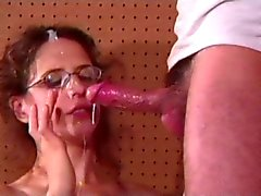 Hairy Cunted Anal Milf Lena's Glasses Jizzed On